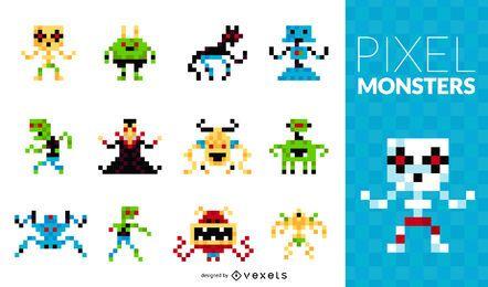 Conjunto de monstruos de píxeles