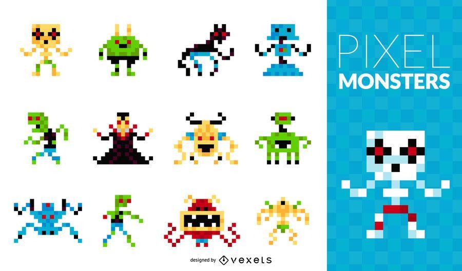 Conjunto de monstruos pixel
