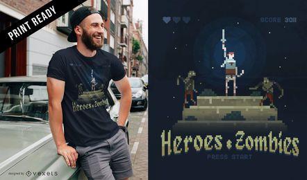 Diseño de camiseta de juego de arcade de píxeles.