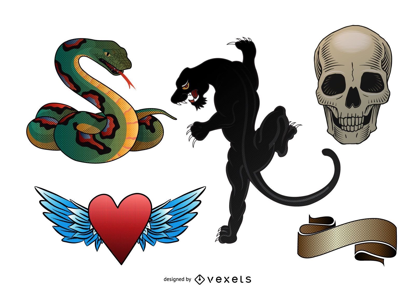 Old school tattoo illustration set