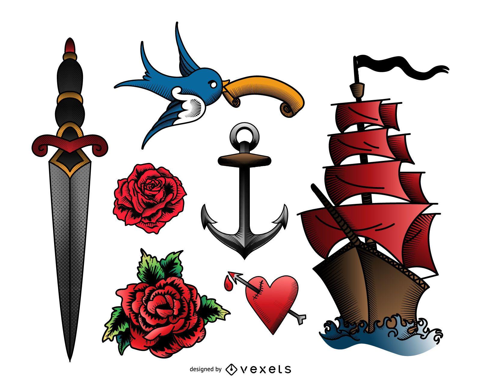 Vintage tattoo illustration set