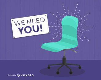 Ilustración de contratación de trabajo de silla vacante