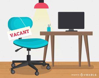 Ilustração de locação de emprego em local de trabalho vago