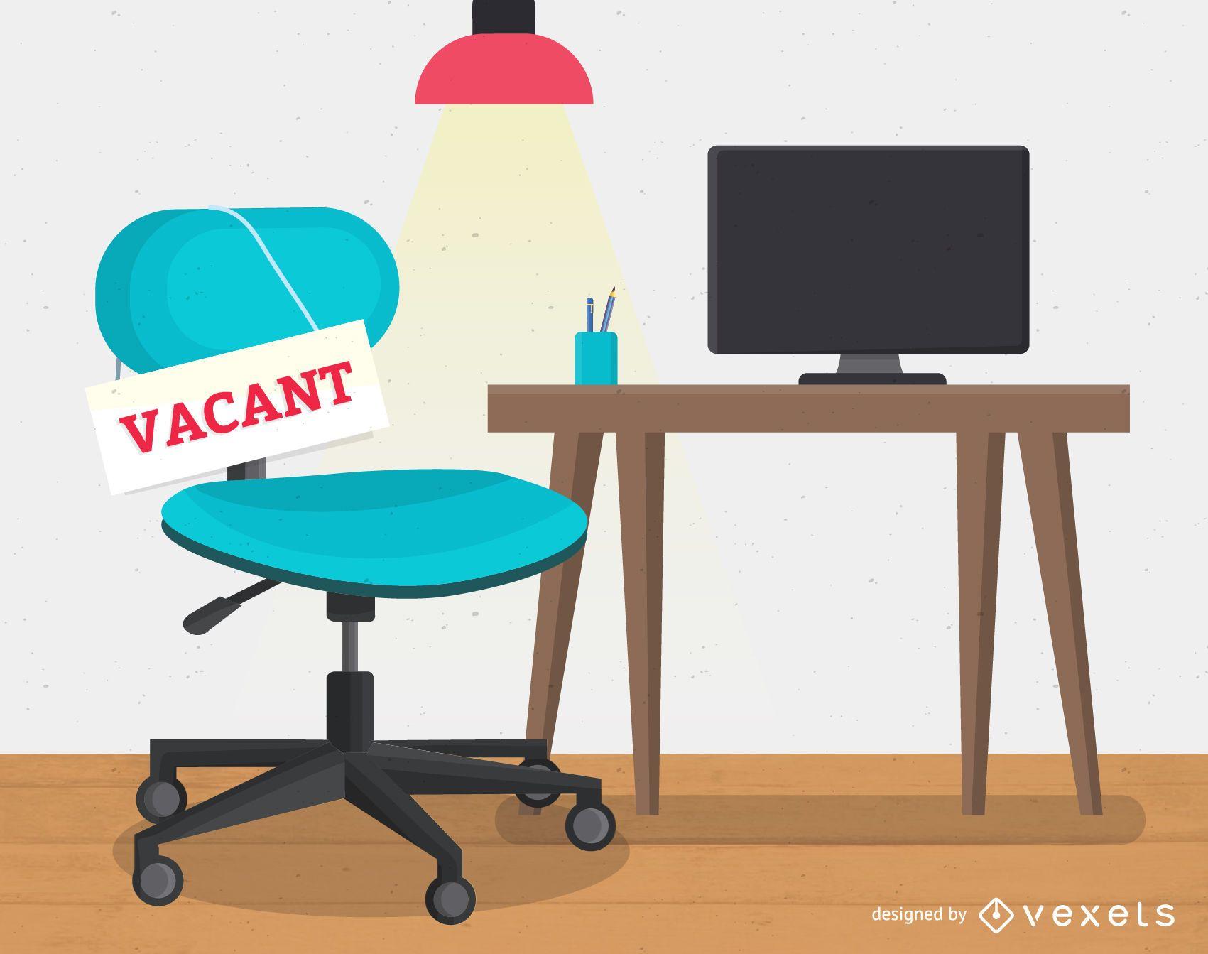 Ilustración de contratación de trabajo de lugar de trabajo vacante
