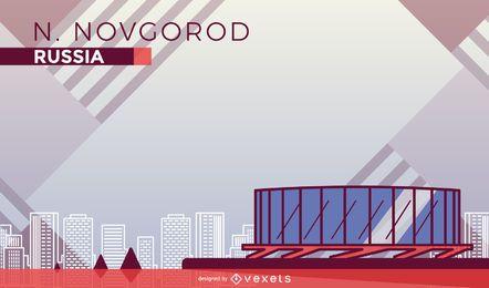 Novgorod stadium cartoon illustration