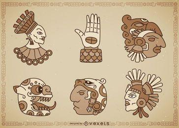Conjunto de signos nativos mayas.