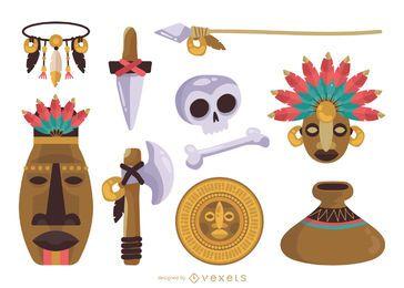 Conjunto de elementos maias nativos