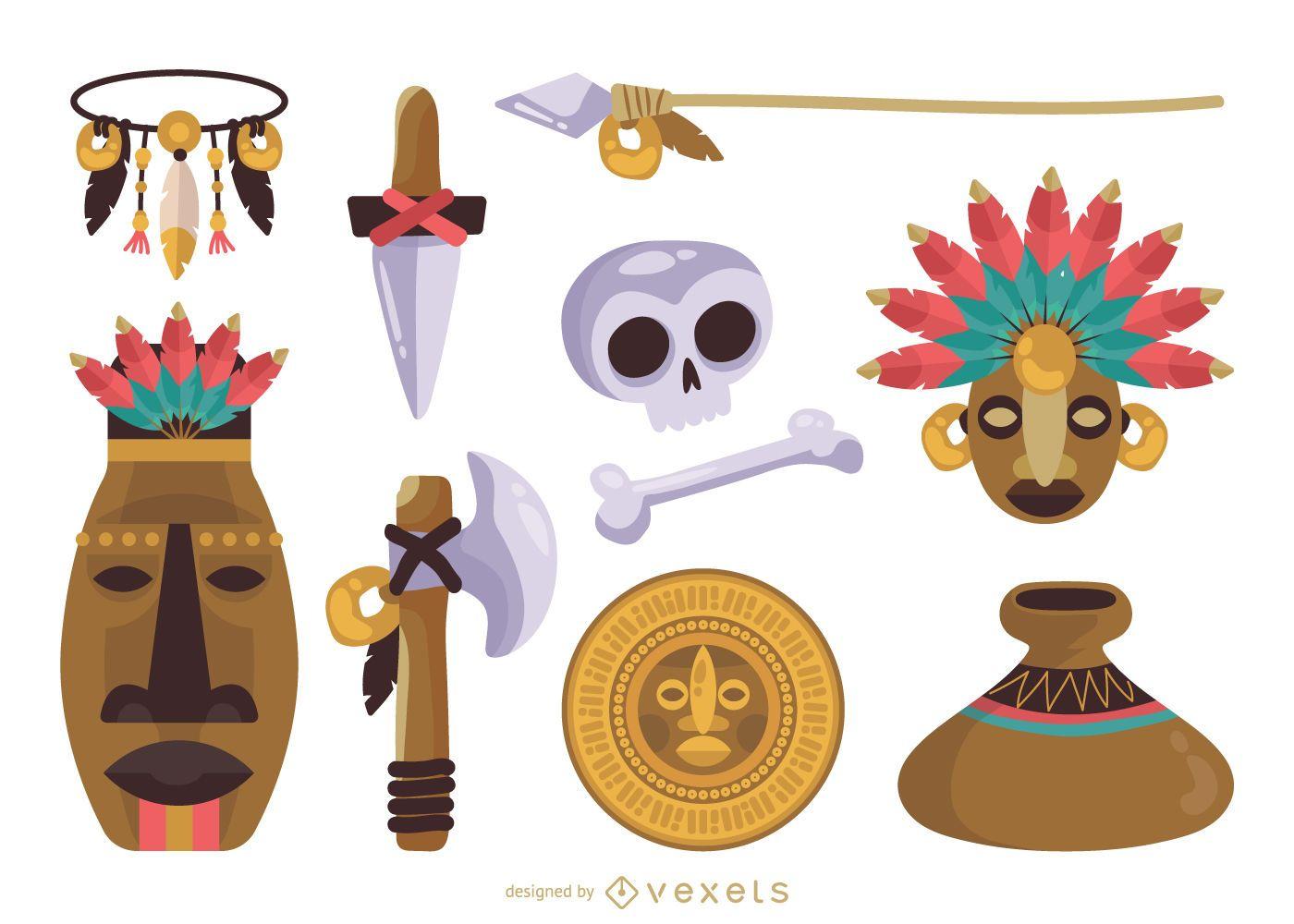 Conjunto de elementos mayas nativos