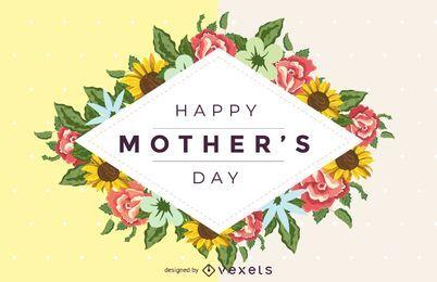 Feliz dia das mães floral vetor de detalhe