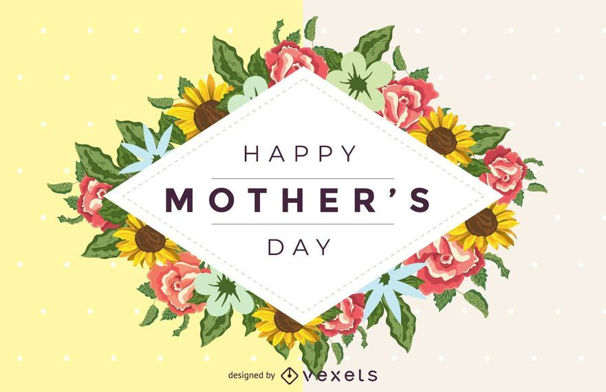 Happy Mother's Day Floral Detail vector