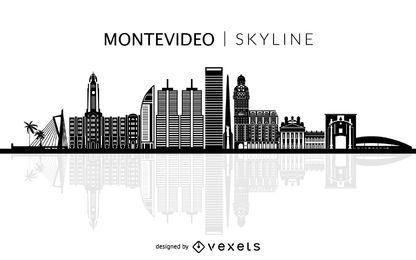 Montevideo-Skylineschattenbild der Stadt