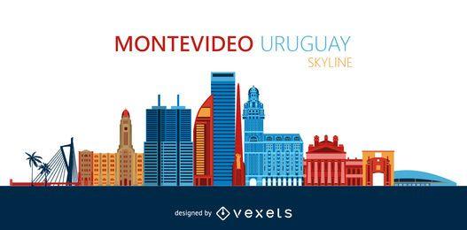 Ilustração do horizonte da cidade de Montevidéu