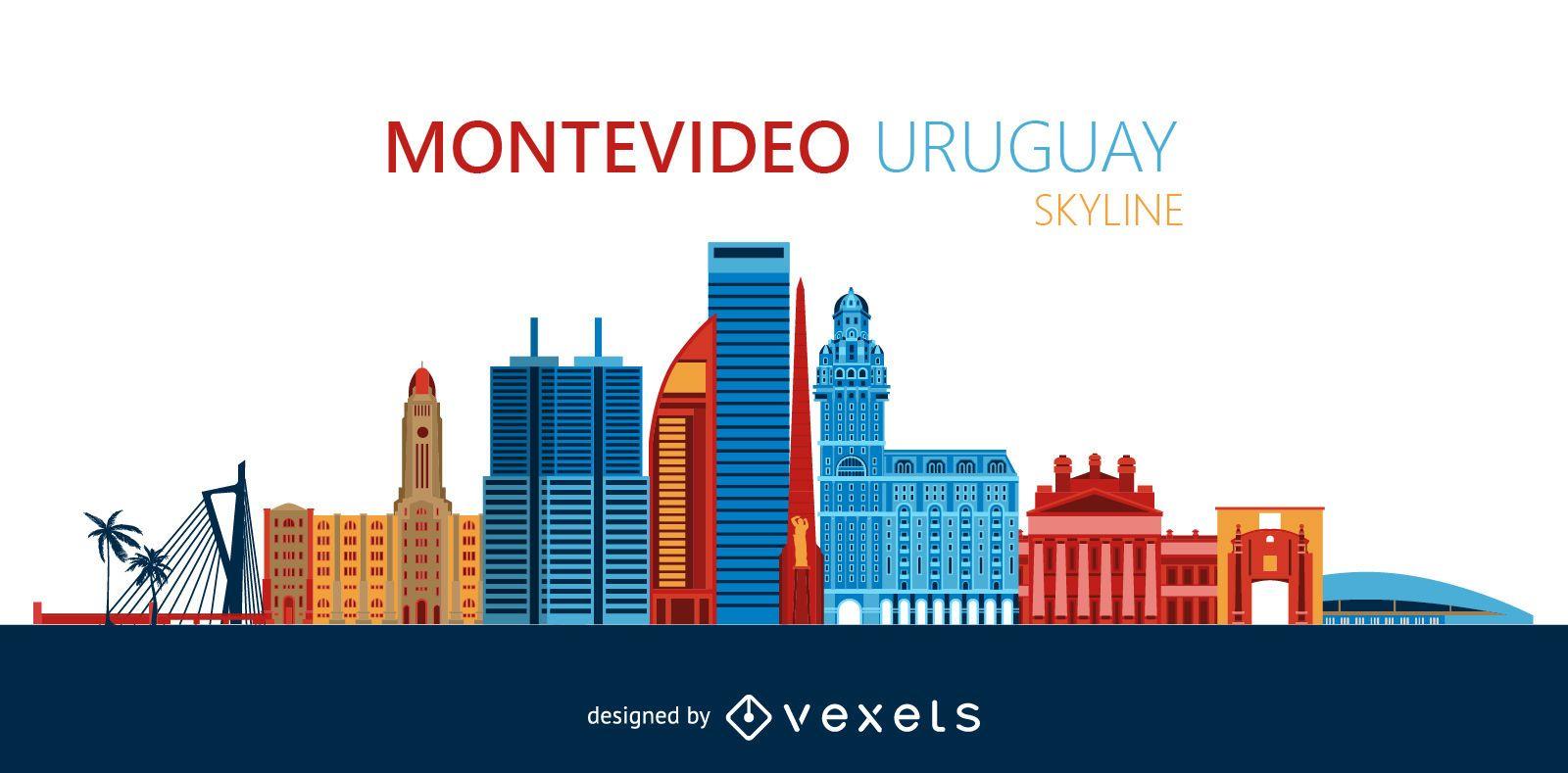Montevideo city skyline illustration