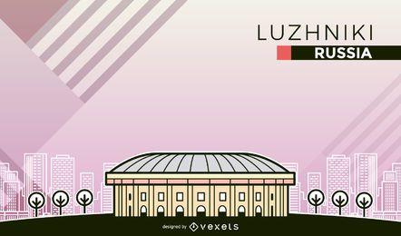 Ilustração dos desenhos animados do estádio Luzhniki
