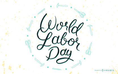 Weltarbeitstag Schriftzug Abzeichen
