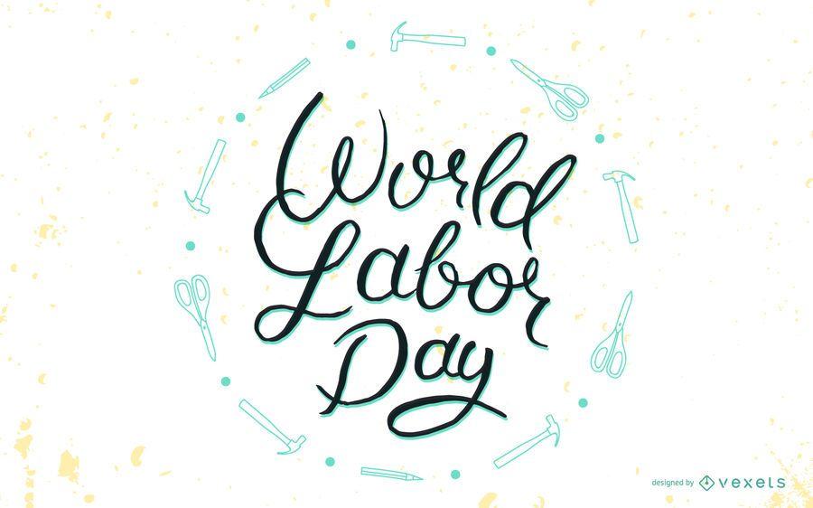 Insignia de letras del día del trabajo mundial