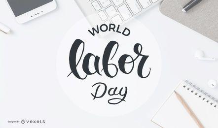 Distintivo de círculo do dia do trabalho mundial