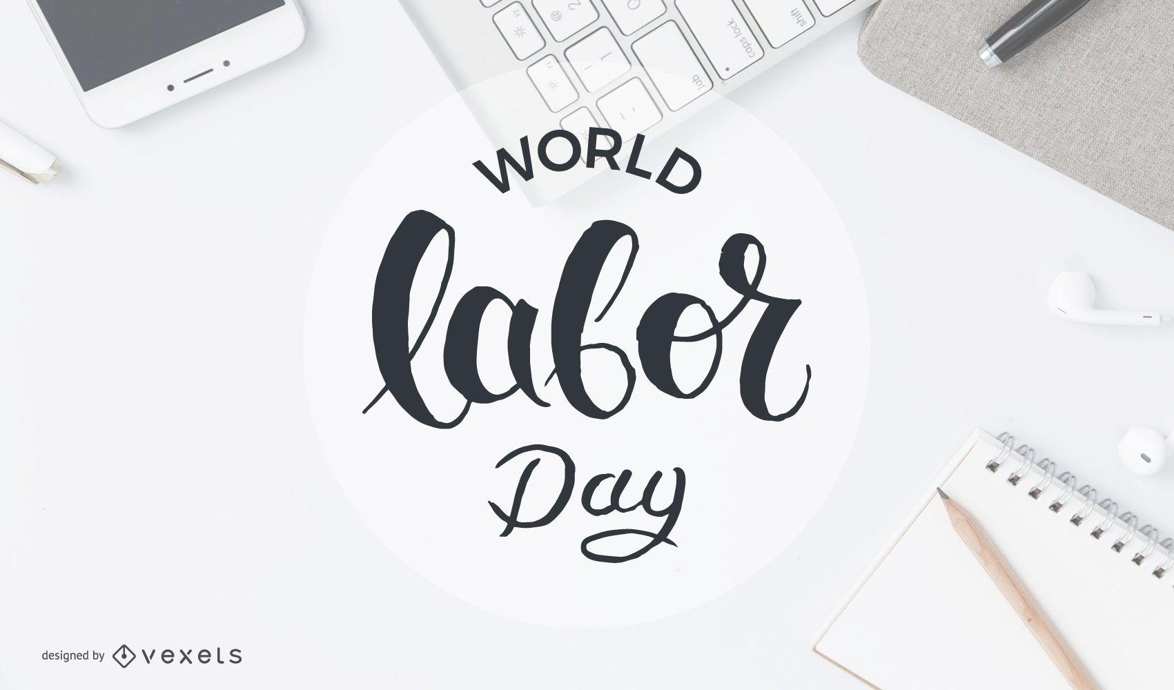 Insignia del círculo del día mundial del trabajo