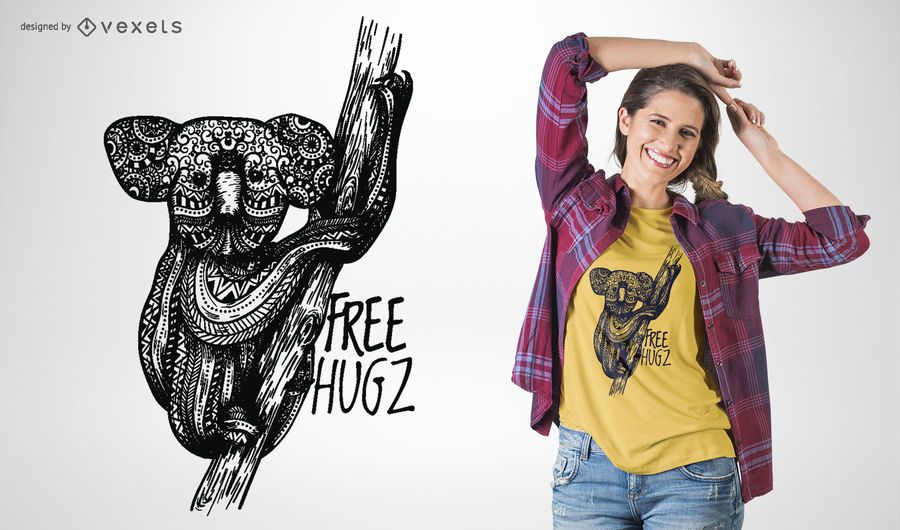 Diseño de camiseta de abrazos gratis koala