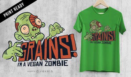 Diseño de camiseta zombie vegana de granos