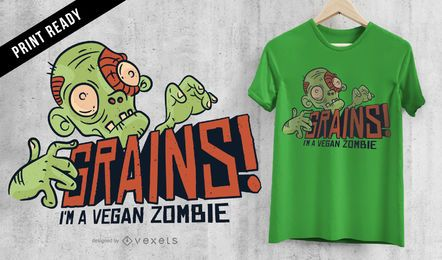 Veganer Zombie-T-Shirt-Entwurf der Körner