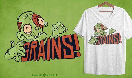 Diseño de camiseta de zombie vegano de granos