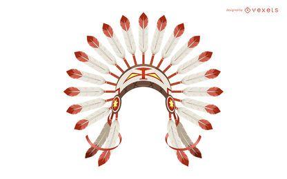 Ilustración de tocado de plumas de la India