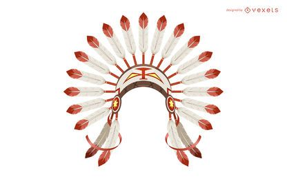 Indian feather headdress illustration