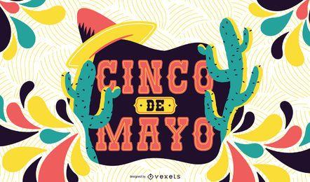 Ilustração colorida de Cinco de Mayo