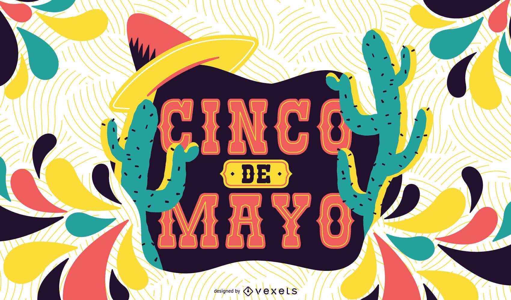 Ilustração colorida do Cinco de Mayo