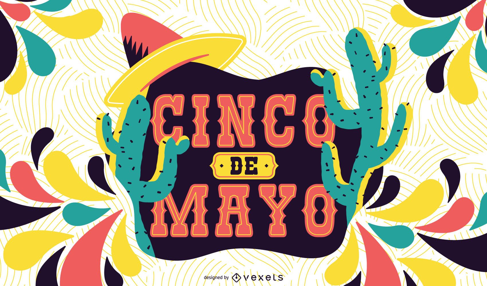 Ilustración colorida del Cinco de Mayo