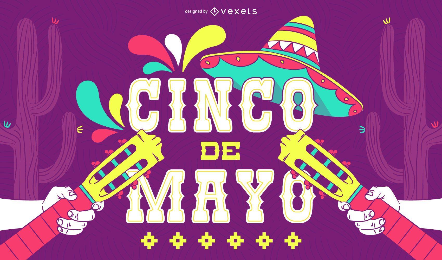 Cartaz ilustrado de Cinco de Mayo