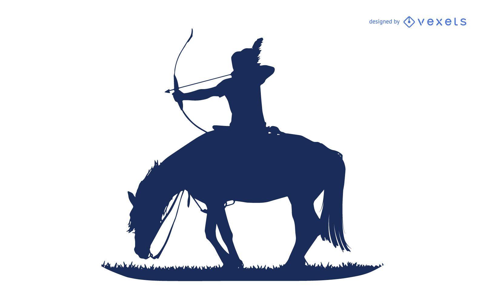 Native american shooting silhouette