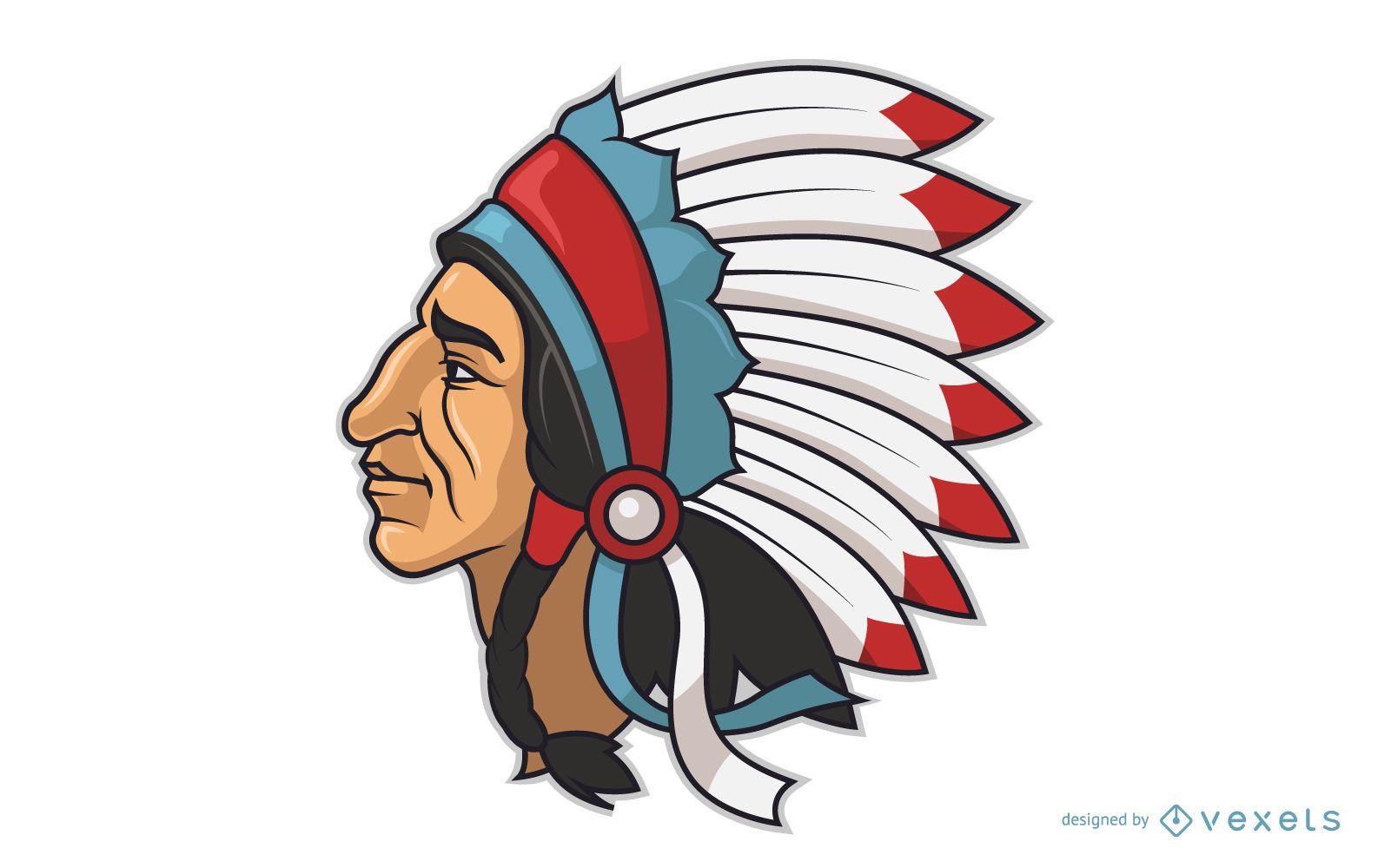 Indian chieftain head cartoon