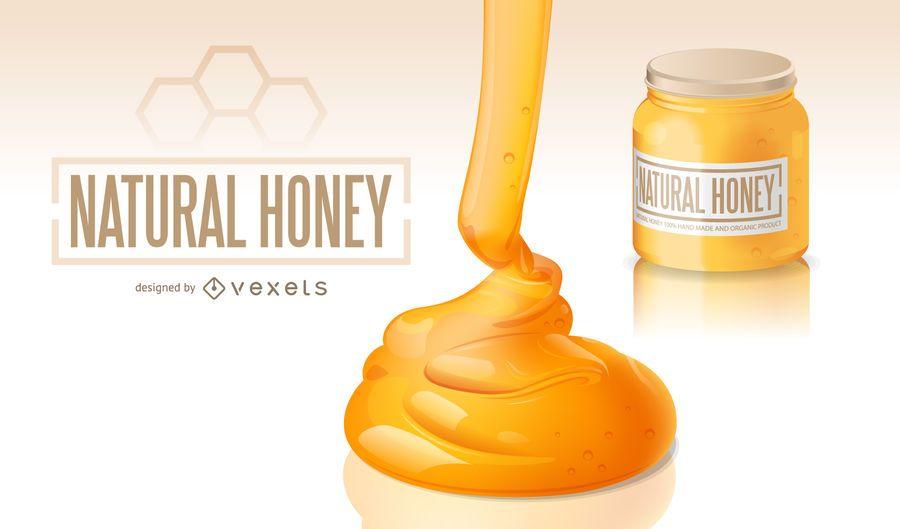 Ilustração realista mel natural