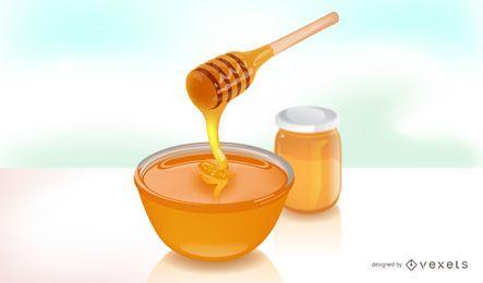 Realistische auslaufende Abbildung des Honigs