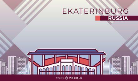 Desenhos animados do estádio de futebol de Ecaterimburgo