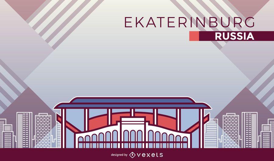 Yekaterinburg football stadium cartoon
