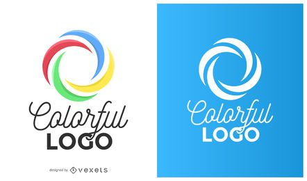 Círculo colorido curvas logo