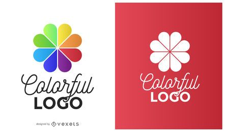 Logotipo da flor círculo colorido
