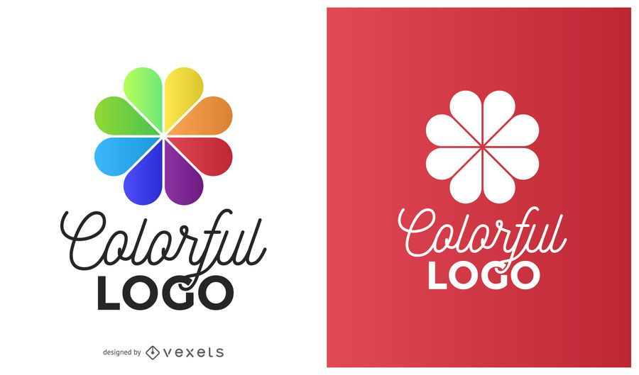 Logo de flor de circulo colorido