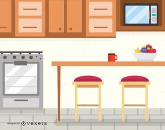 Ilustração de design de interiores de cozinha