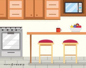 Ilustración de diseño de interiores de cocina
