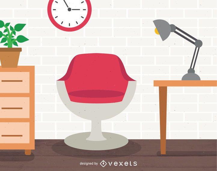 Ilustração de design de interiores de escritório