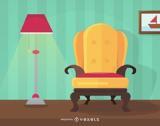 Flat home interior design illustration