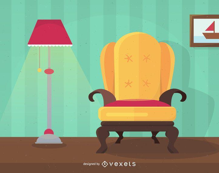 Ilustración de diseño de interiores de casa plana