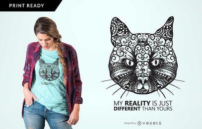 Diseño de camiseta de gatos de diferente realidad.