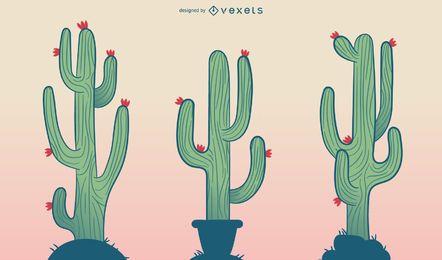 Kaktuskarikatur-Illustrationssatz