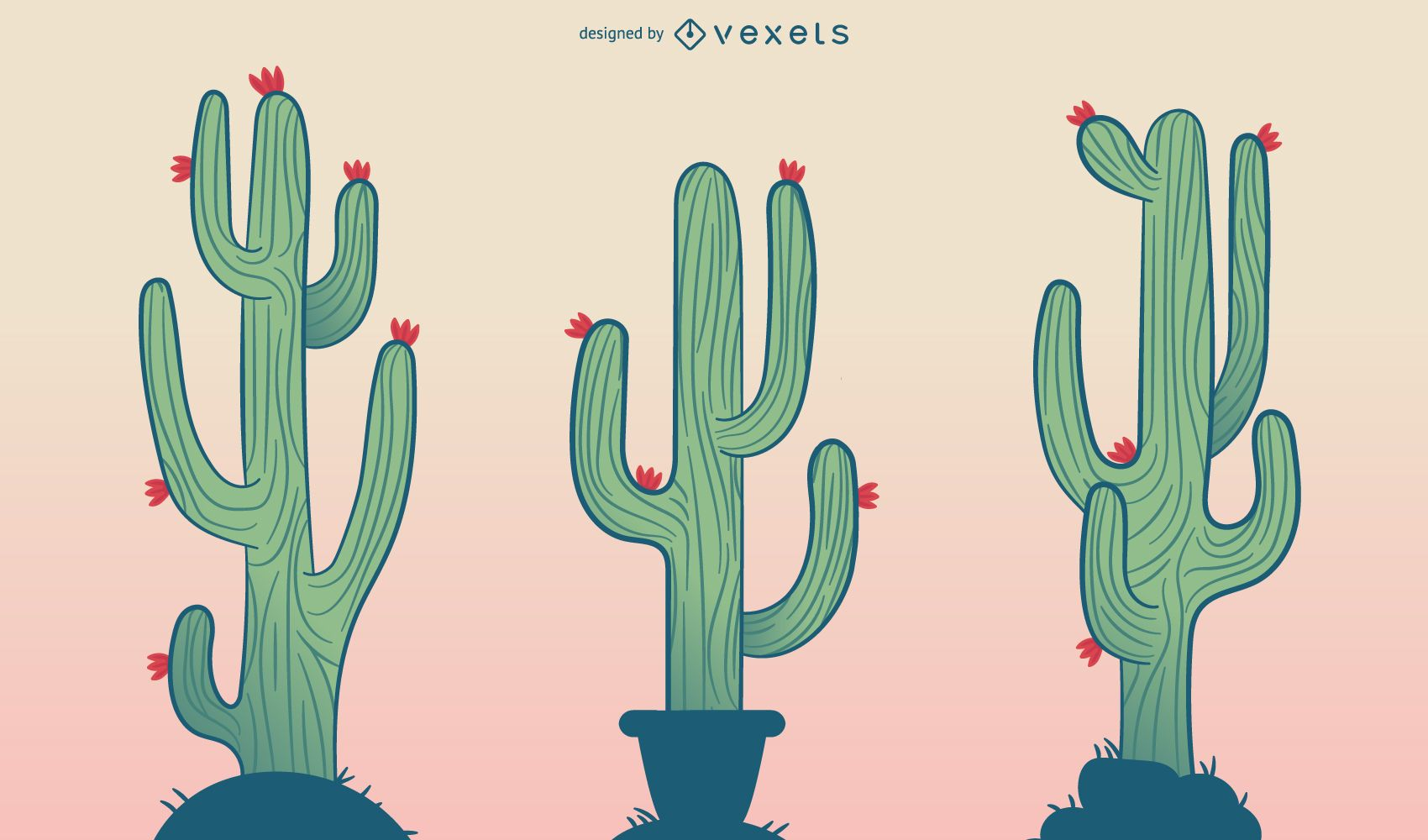 Cactus cartoon illustration set - Vector download
