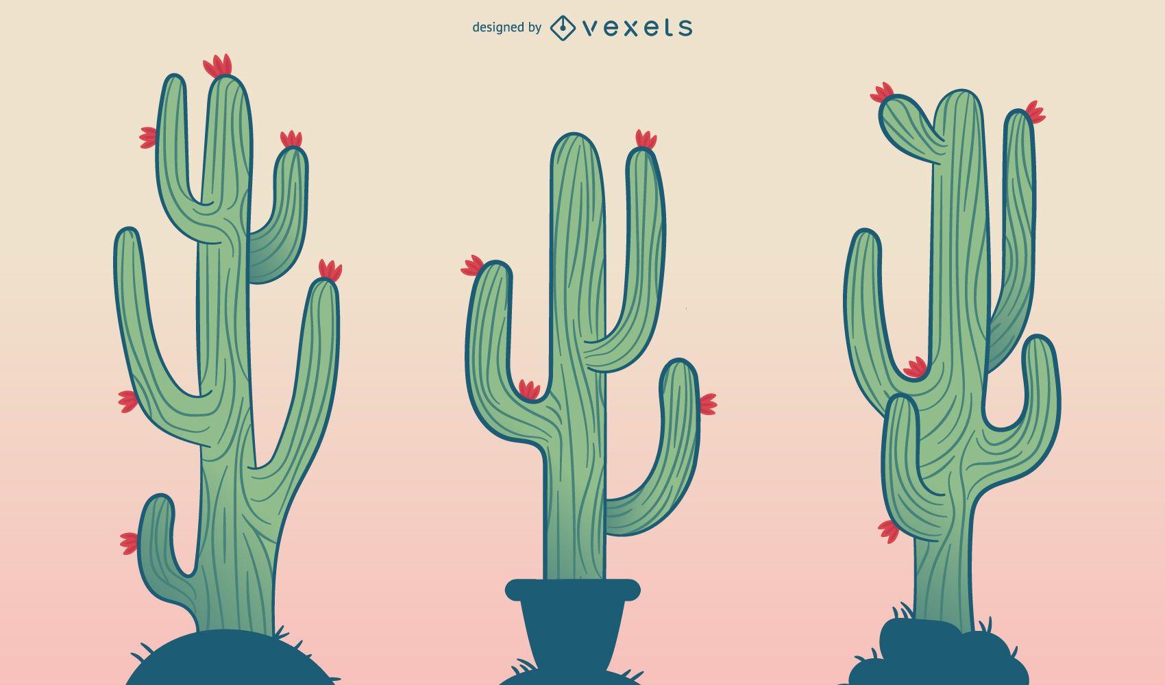 Conjunto de ilustraci?n de dibujos animados de cactus